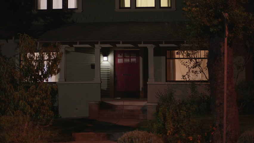 Magic hour night entrance door porch area nice two story craftsman house wood house light