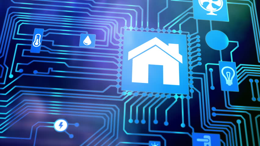 Smart home icon on motherboard, smarthome house automation remote control concept. | Shutterstock HD Video #21439777
