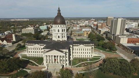 Aerial Rising Above Kansas Statehouse