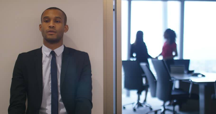 4K Nervous candidate waiting to be seen for job interview in corporate company