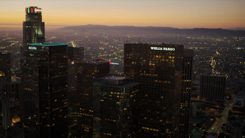Aerial view at sunset of the city skyscrapers of Los Angeles