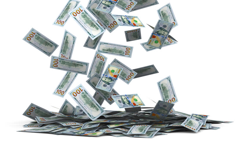 3D animation, render. One hundred dollars money banknotes falling on floor, isolated on white | Shutterstock HD Video #21489526
