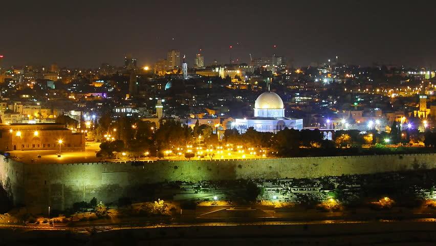 night view to jerusalem old city israel panning shot