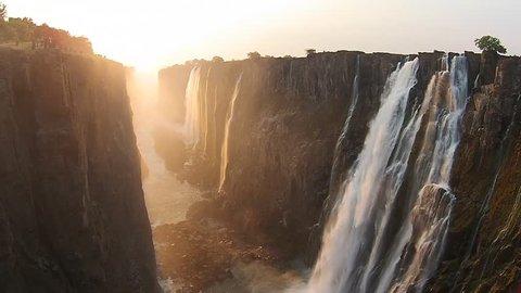 Victoria Falls Zimbabwe, Aerial video, Africa.