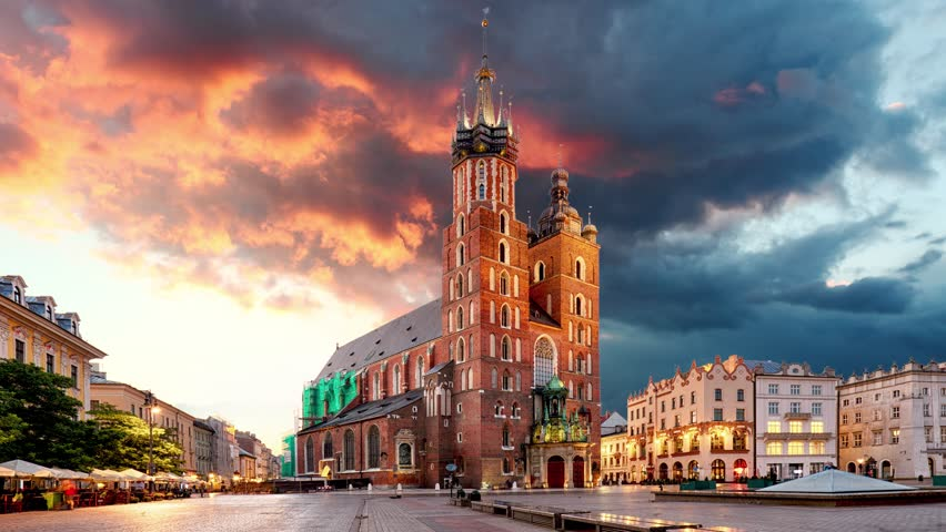 Krakow Market Square, Poland, Time lapse