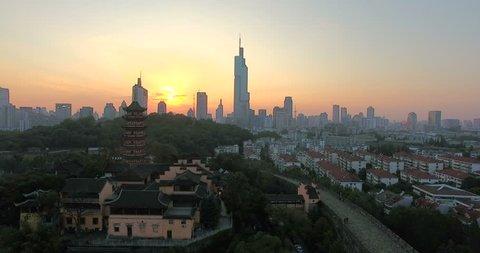 4K Aerial shot of Nanjing city,China, The City landmark at sunset