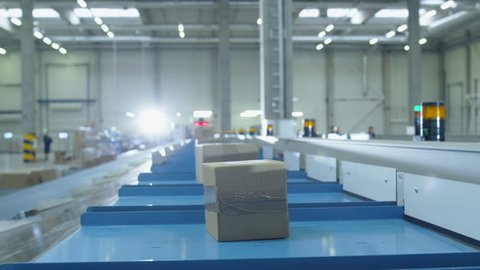Parcels are Moving on Belt Conveyor at Post Sorting Office. Box POV. Time-Lapse. Shot on RED Cinema Camera in 4K (UHD)