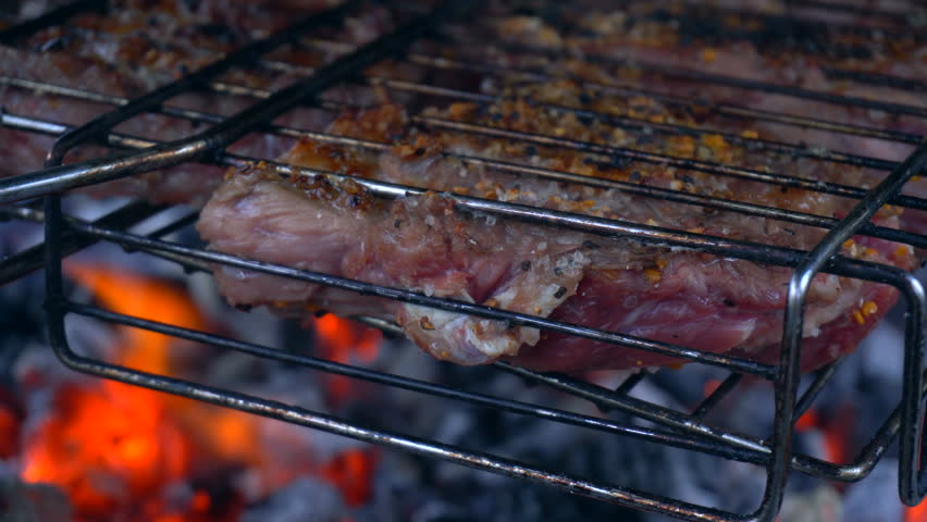 Pieces of meat in the grill roasting on hot coals closeup | Shutterstock HD Video #21558286