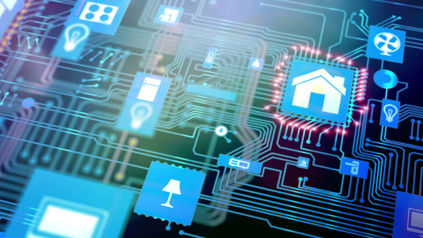 Smart home icon on motherboard, smarthome house automation technology remote control concept. | Shutterstock HD Video #21565507
