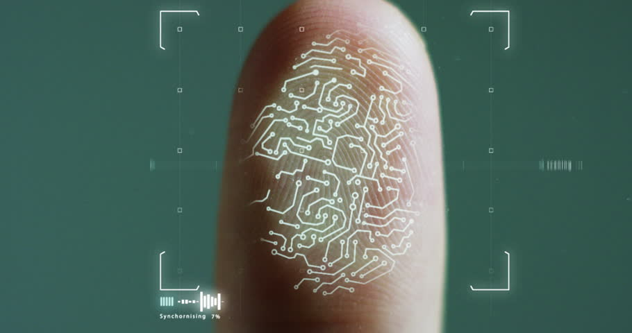 futuristic digital processing of biometric fingerprint scanner. concept of surveillance and security scanning of digital programs and fingerprint biometrics. cyber futuristic applications. #21565876