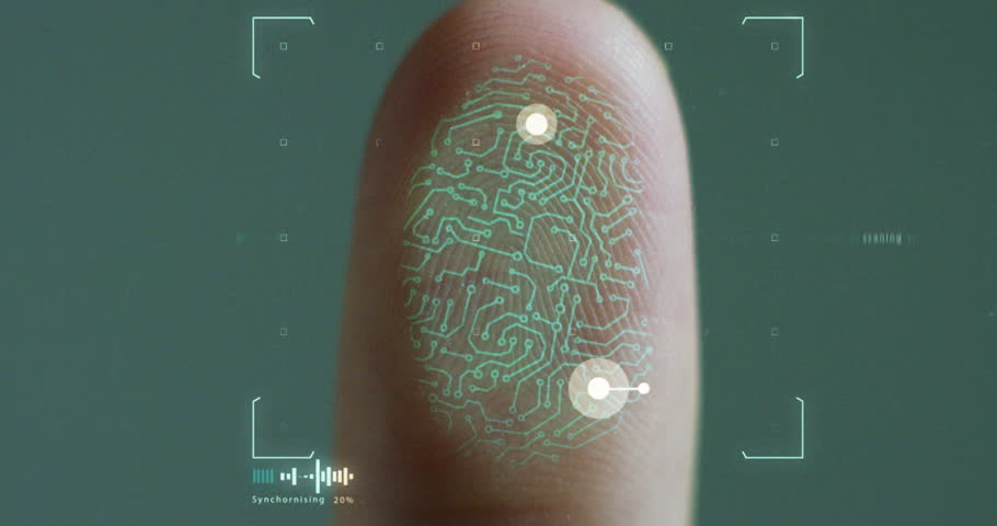 futuristic digital processing of biometric fingerprint scanner. concept of surveillance and security scanning of digital programs and fingerprint biometrics. cyber futuristic applications. | Shutterstock HD Video #21565936