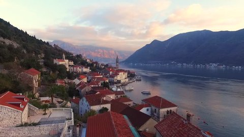 Drone video - Perast, Old town on the Bay of Kotor in Montenegro