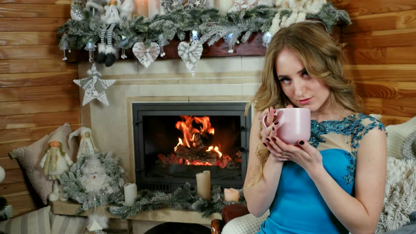 Beautiful Young Romantic Woman Drinking Hot Beverage At Home, Girl Drinking  Tea At Home,