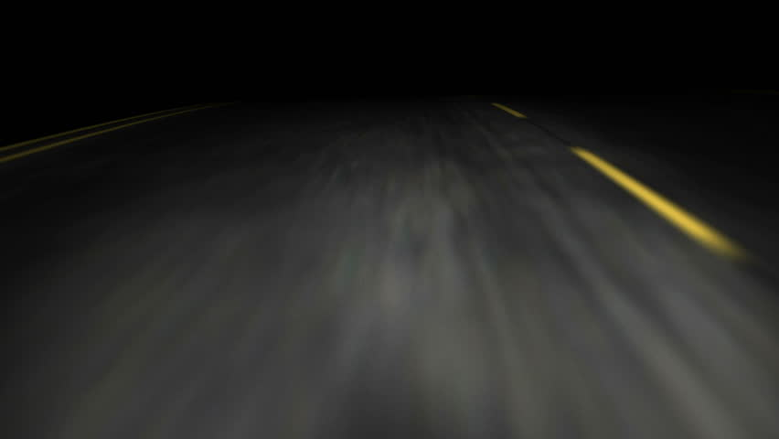 3D animation of a road trip on an empty road at night