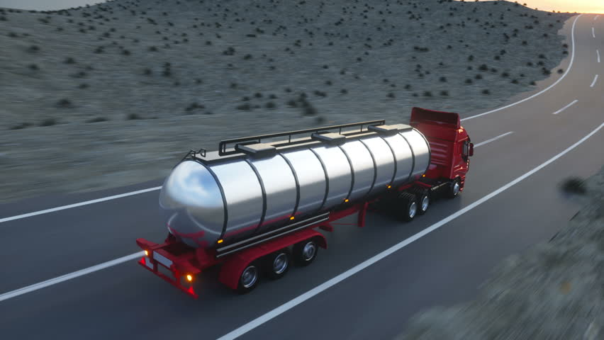 Gasoline tanker, Oil trailer, truck on highway. Very fast driving. Realistic auto animation.