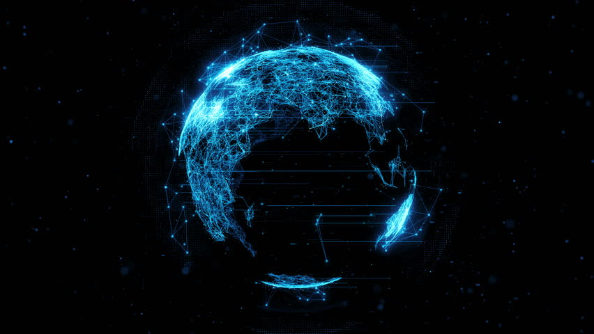 3d rendering abstract globe with particles and plexus structure. Digital technology planet with continent forming. Triangulated structure. Glows and particles. | Shutterstock HD Video #21681376