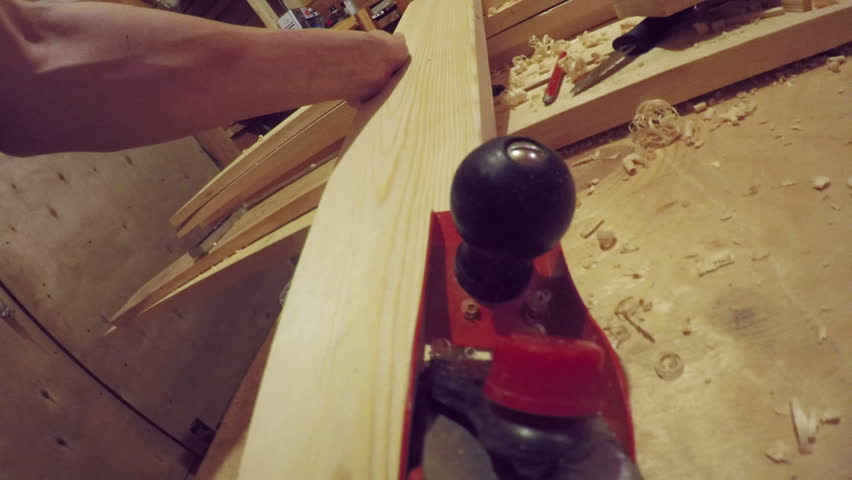 POV from wood Planer. woodworking footage