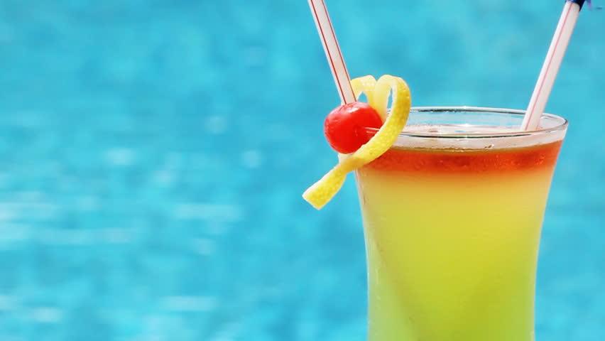 Drinks Cocktails On Tropical Beach Alcoholic Drink Close Up On Waikiki Beach, Oahu -6827