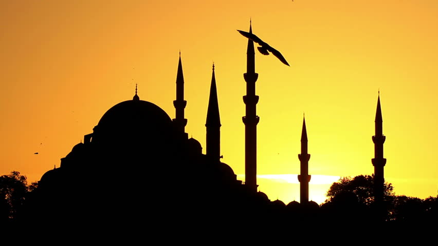 Suleymaniye Mosque built by Suleiman the Magnificent in Istanbul, Turkey. Slow motion, 16 sec, 1080p, Full HD record video