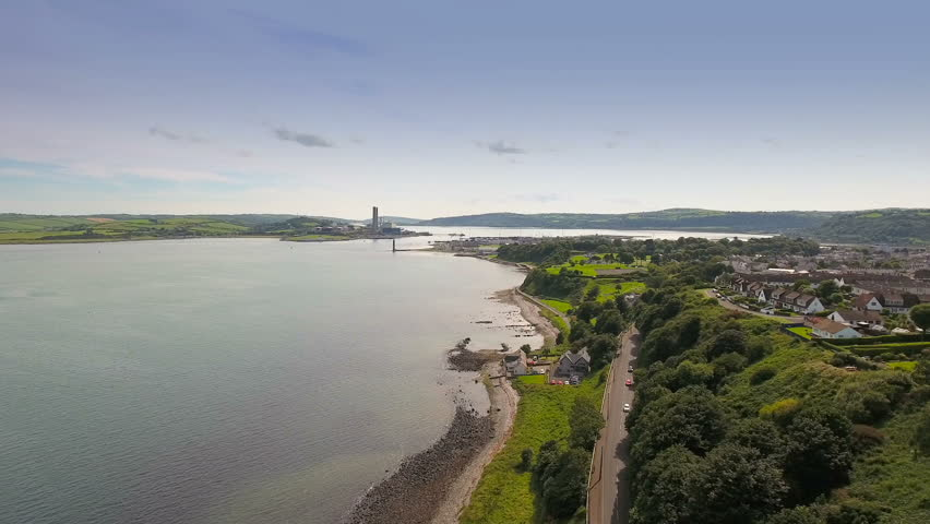 Aerial view of the city of Cushendun in North Ireland. Cushendun is a small coastal village in County Antrim Northern Ireland.