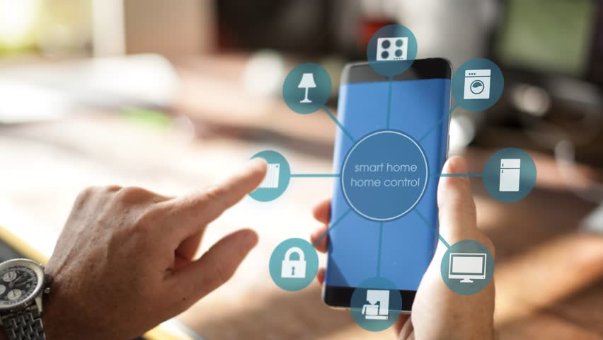 Smart Home Device - House automation home Control concept on a smartphone with smarthome app | Shutterstock HD Video #21770437