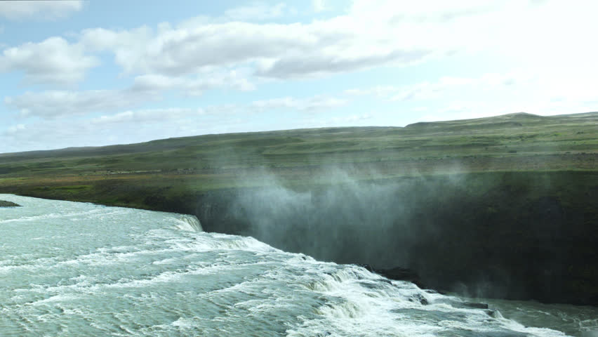 ICELAND, GULLFOSS WATERFALL- CIRCA AUGUST, 2014: Beautiful summer view of the Gulfoss Waterfall near the Golden Circle in Iceland.  #21772246