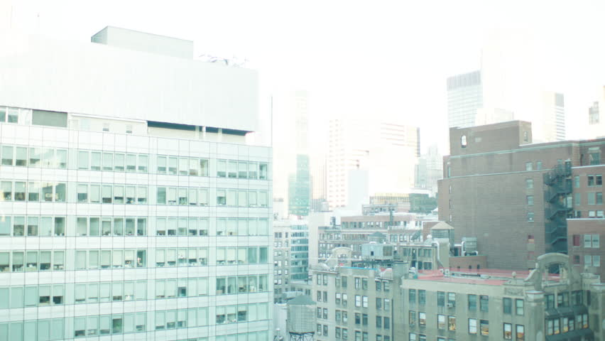 Day part large stitched together New York, rake, panorama Looking across cityscape large modern white bldg l foreground , window plate, window POV, balcony POV, roof POV | Shutterstock HD Video #21813106