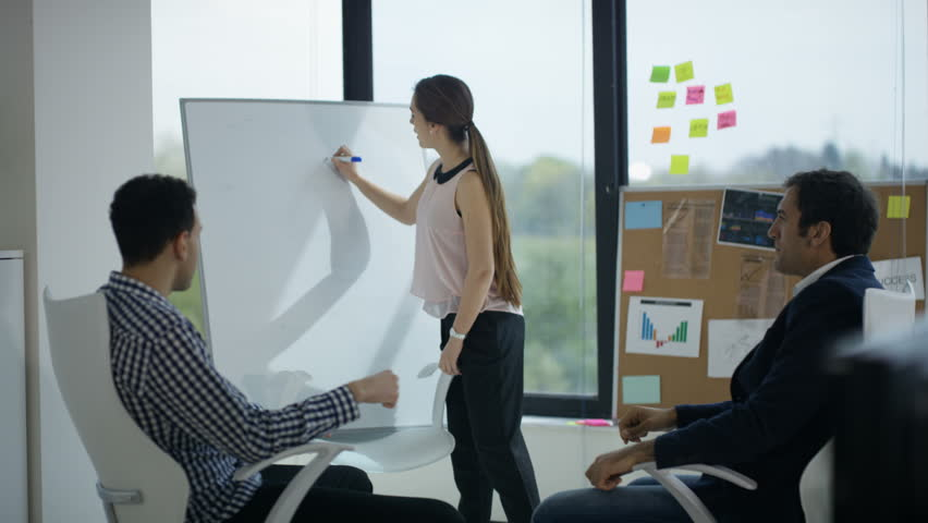 4K Business marketing team brainstorming for ideas with whiteboard in office (UK-Oct 2016)   Shutterstock HD Video #21816010