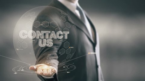 Contact Us Businessman Holding in Hand New technologies
