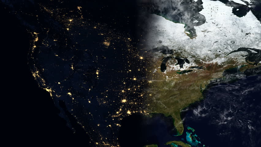 Planet Earth Map Animation Eastern United States Evening Time - 4k us map