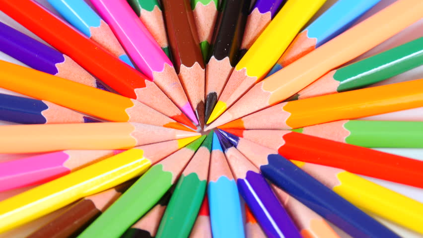 Colorful pencils point to centre and form bright circle, creativity, imagination, art, sharp ends, stationery. Close up, seamless loop, 4K Ultra HD.
