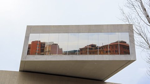 Front of MAXXI Rome Italy timelapse - February 21, 2015: is a national museum of contemporary art and architecture.