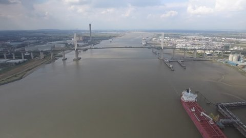 Aerial Approach Towards A Suspension Bridge