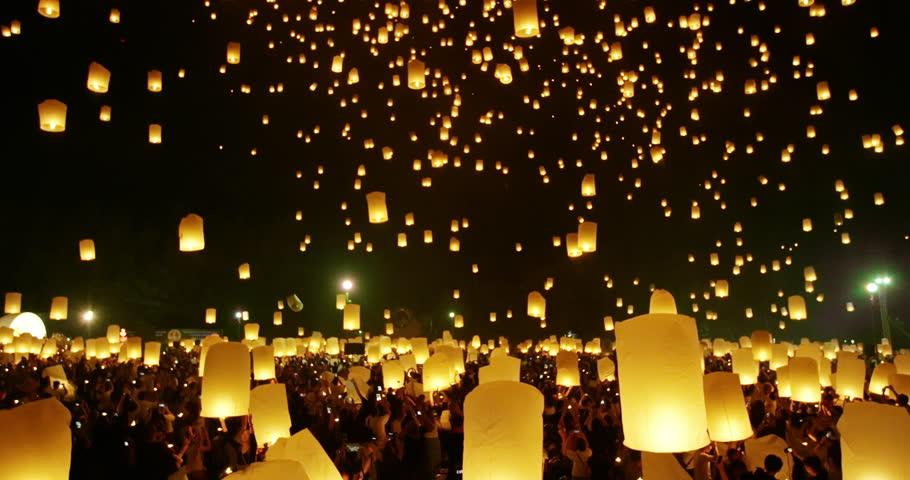 Lanterns floating in night sky at Yi Peng Festival. Chiangmai, Thailand. 4k | Shutterstock HD Video #21892471