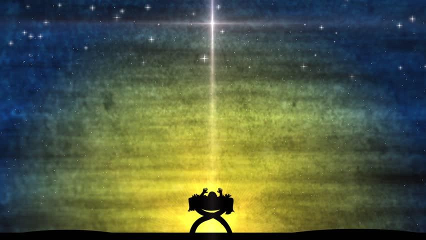 Baby Jesus Sleeping In A Manger. The Star Of David Shining Bright ...