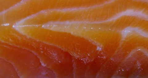 slice of fresh salmon in extreme macro close up. conceto of omega 3 and vitamins taken from the fish. biological wild salmon, salmon trout. concept of smoked fish with natural bio wood.