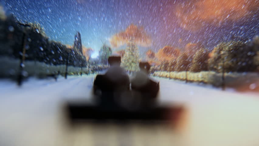 Beautiful couple seen through a glass orb, zoom out, winter holidays