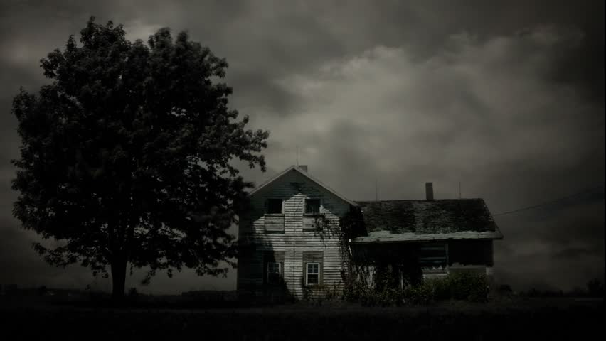 Timelapse of haunted house in monochrome.