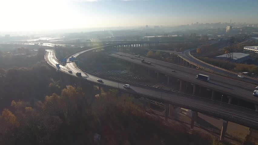 Low aerial view of Spaghetti Junction in Birmingham, UK.