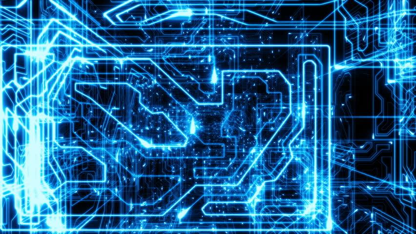 Blue Computer Circuit Board Background Loop Stock Footage