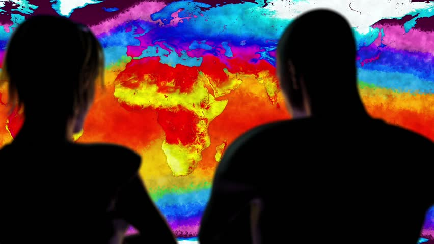 Woman and Man Watching Earth Global Warming Simulation Cinematic Camera Motion 3D Animation The thermo map is bases on real data but it's fully CGI hand drawn imagery.