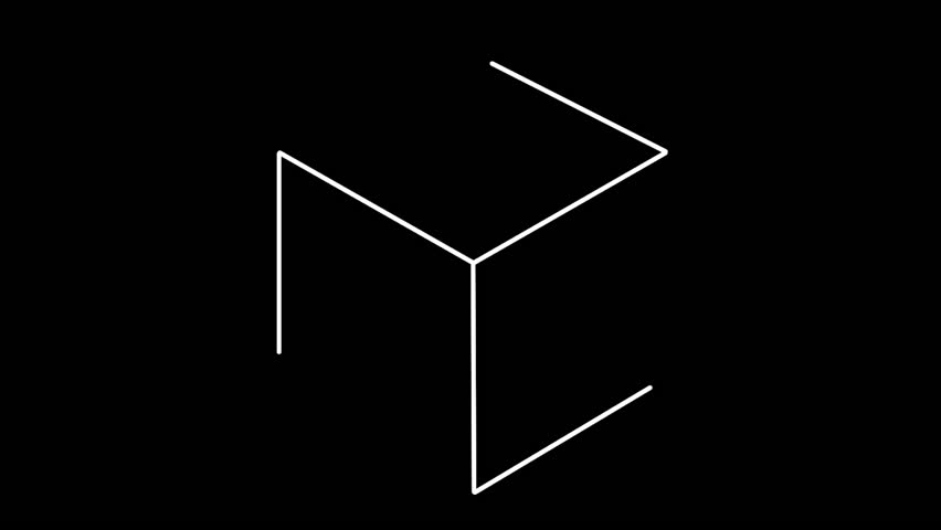 A minimal line animation of a cube transforming into a hexagon.
