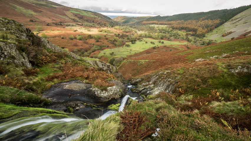 Waterfall Timelapse moving shot - Snowdonia National Park, Wales, 4K