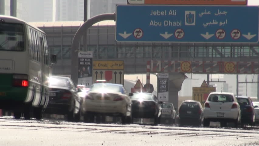 DUBAI - 29 OCTOBER 2010: Traffic goes over a highway in Dubai, United Arab Emirates