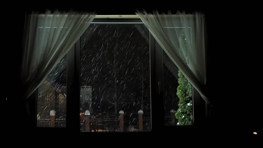 The Window Of House Outside A Blizzard Lot Snow Night Village Houses Stock Footage Video 22094146