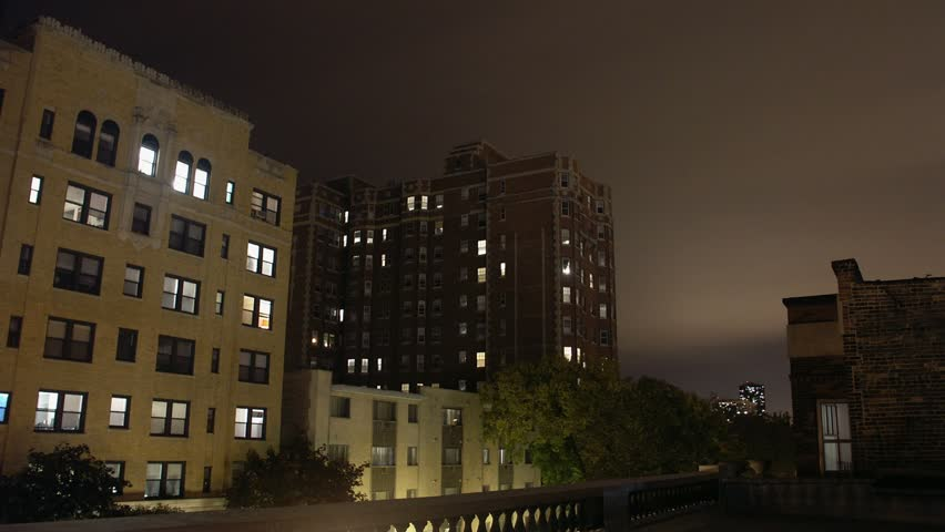 Timelapse Of Apartments At Night Chicago Illinois