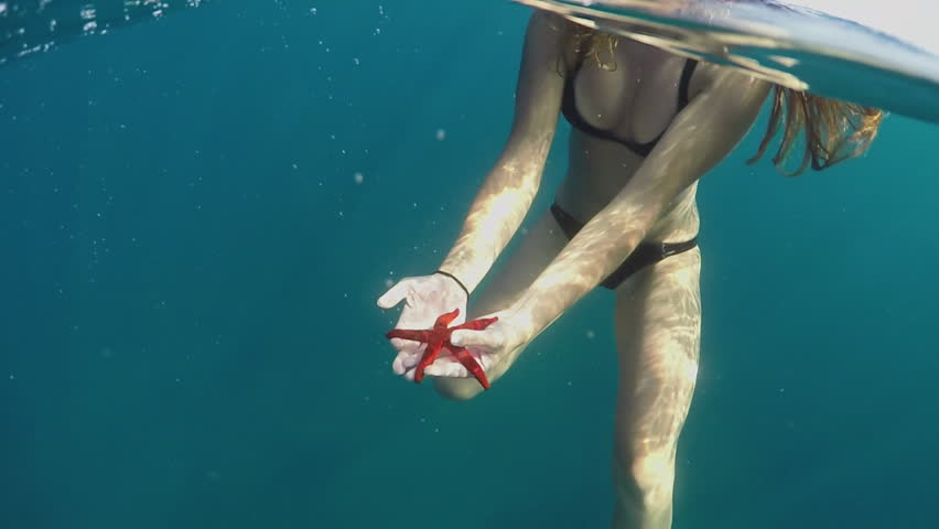 SLOW MOTION CLOSE UP UNDERWATER: Unrecognizable woman in bikini swimming in deep blue ocean holding beautiful red starfish in her hands and showing it to boyfriend. Stunning sea life on exotic island