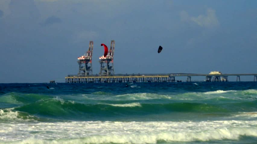 Kite Surfing in a stormy sea, south of Israel, filmed 60p, color graded