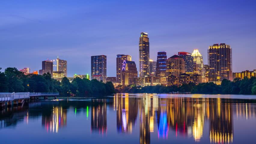 Austin, Texas, USA skyline time lapse on the Colorado River.