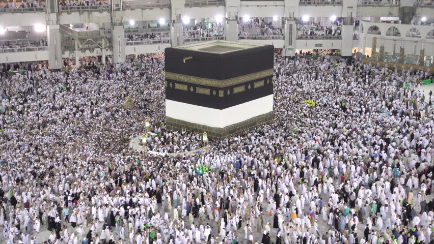 Muslim pilgrims revolving around the holy Kaaba by walking during Hajj in Mecca Saudi Arabia